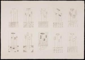 Acquaforte - lastra175 x 86 mm -dieci lastre su un unico foglio 491 x 696 mm -carta Magnani di Pescia - stampa R. Romano prova d'artista Firenze - Gabinetto Disegni e Stampe