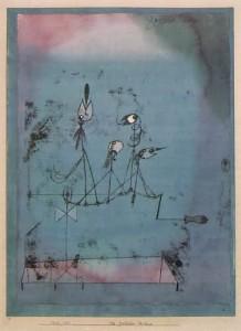 Paul Klee, La macchina cinguettante, 1922 olio e acquerello su carta con acquerello e inchiostro su cartoncino.