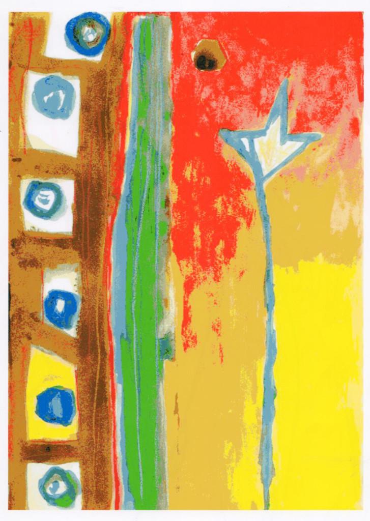 DE MARIA, Aiuti celesti,, 1984, tecnica mista su carta, 31x23.5 cm