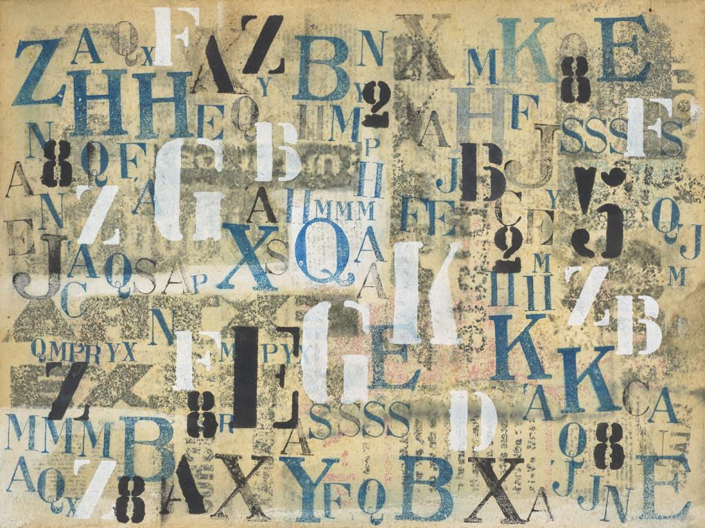 PINO PASCALI Lettere 1964pittura su cartone cm. 36x48