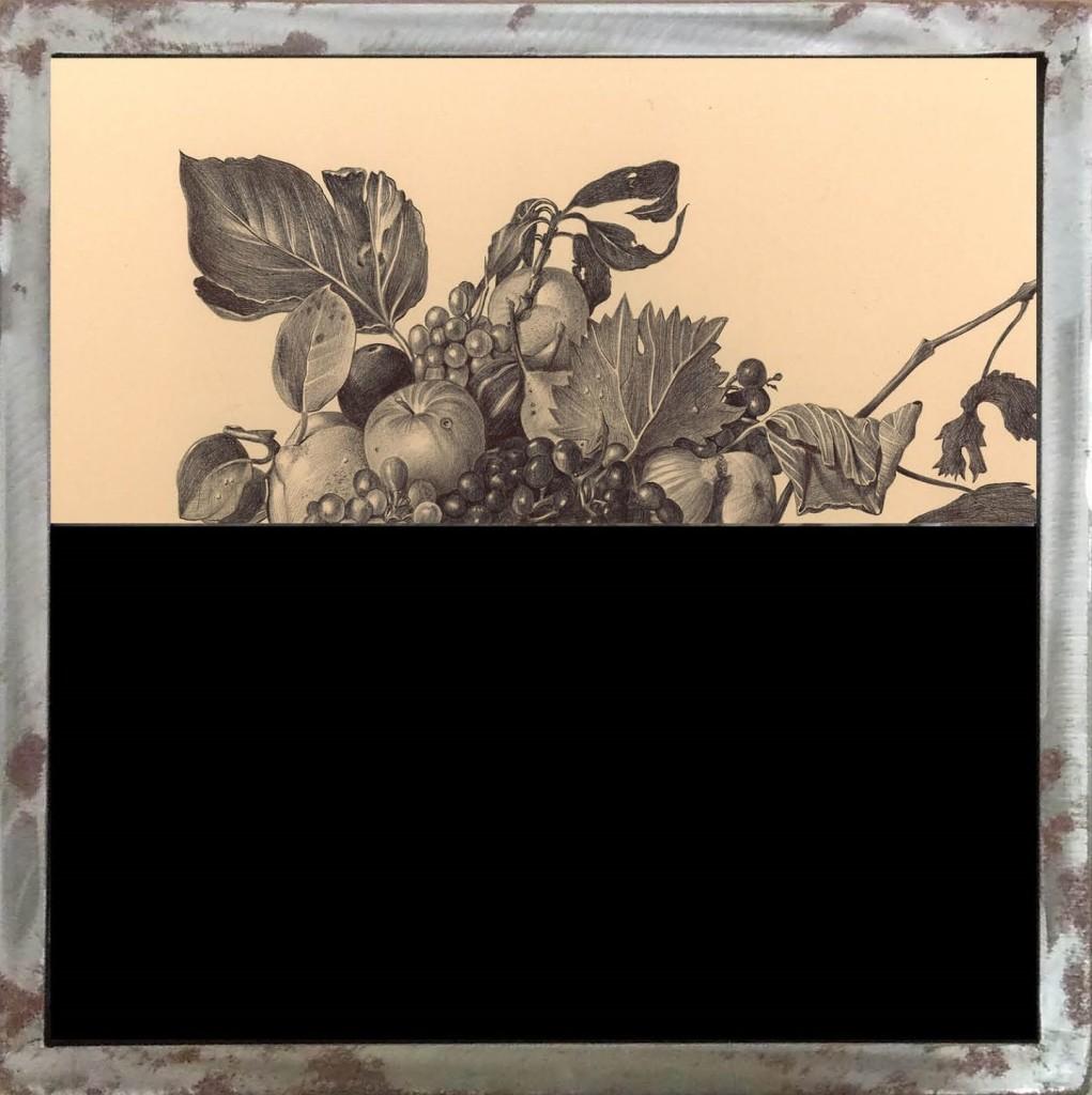 VITA Canestro di fruttaCanestro di frutta con insetti - Penna biro su carta applicata su legno con vetrocamera e acqua colorata, 40x40 cm, 2014
