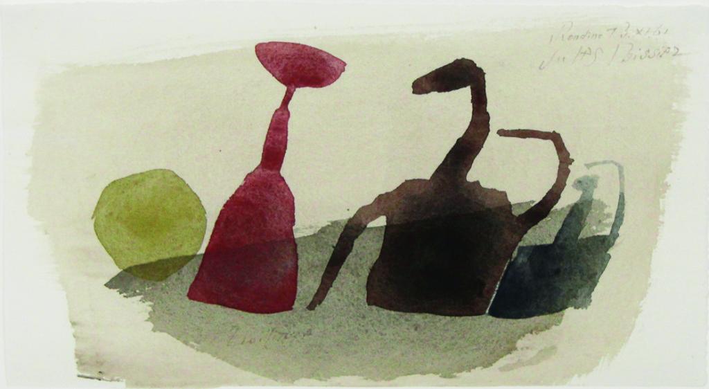 uliusBissier (1893-1965)U. 804 U Rondine 13.XI.61 / Zwillinge, 1961 Aquarell auf Papier 13,5 x 23,5 cm Signiert, datiert oben rechts; betitelt unten links