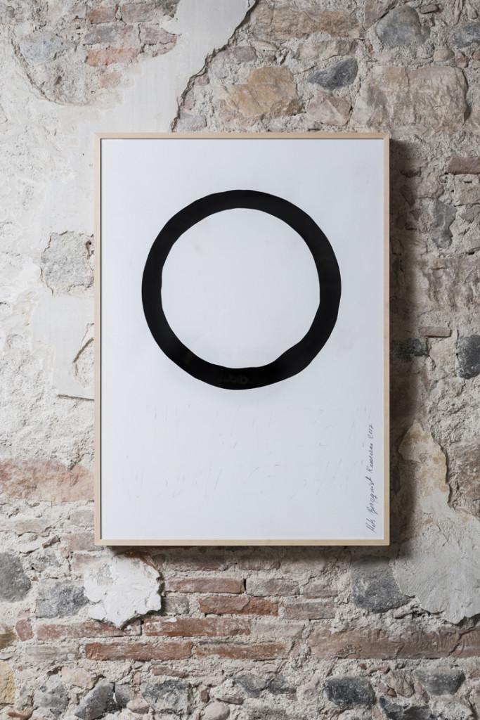 Enso, Mats Bergquist, tecnica mista su carta, 103,5x74 cm 2017