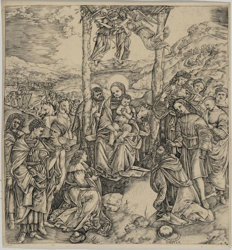 ROBETTA Cristofano (1462 ca. - 1534 post), incisore. 1498circa Lippi Filippino (1457 ca .- 1504), inventore stampa a bulino 312 mm. x 305 mm.