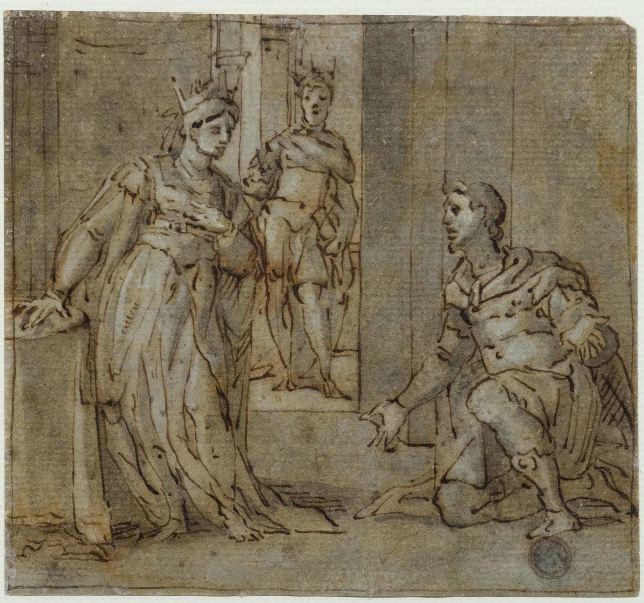LAZZARO TAVARONE (Genova 1556 – 1641) AMAN IN GINOCCHIO DAVANTI A ESTER Penna e inchiostro bruno, pennello e inchiostro acquerellato, biacca, carta azzurra, controfondato 132x144 mm
