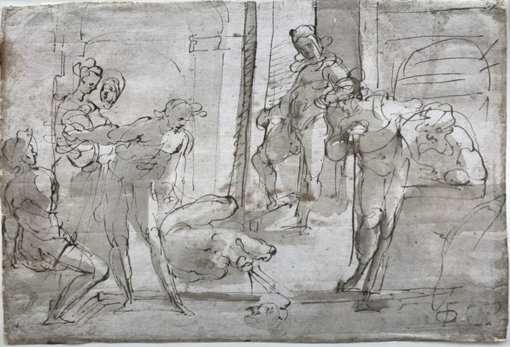VALERIO CASTELLO (Genova, 1624-1659) DECOLLAZIONE DEL BATTISTA Penna e inchiostro bruno, pennello e inchiostro acquerellato, 190x280 mm