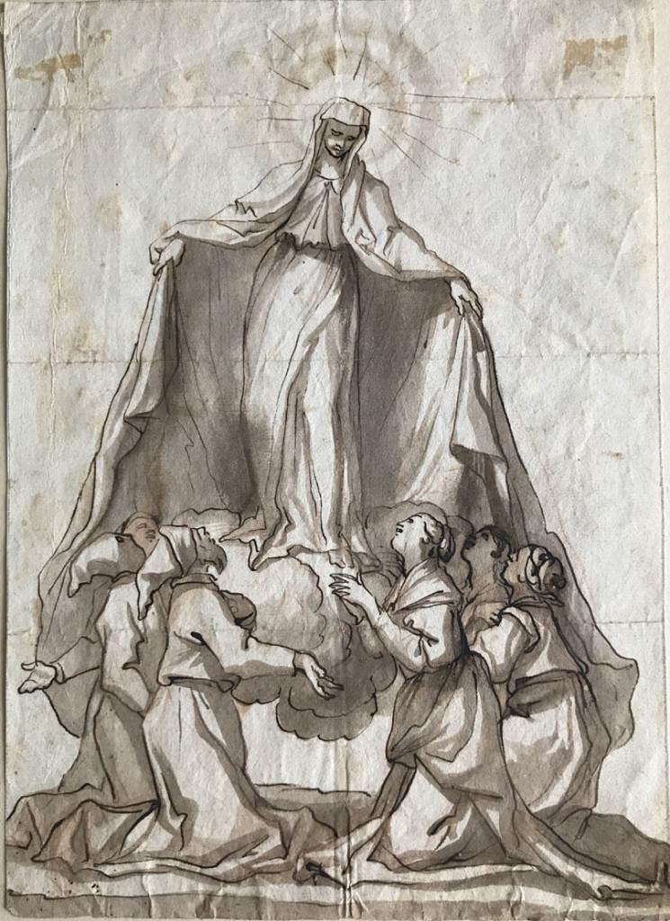 Domenico PIOLA (Genova 1627 – 1703) MADONNA DELLA MISERICORDIA Matita rossa, penna e inchiostro bruno, pennello e inchiostro acquerellato bruno 270x190