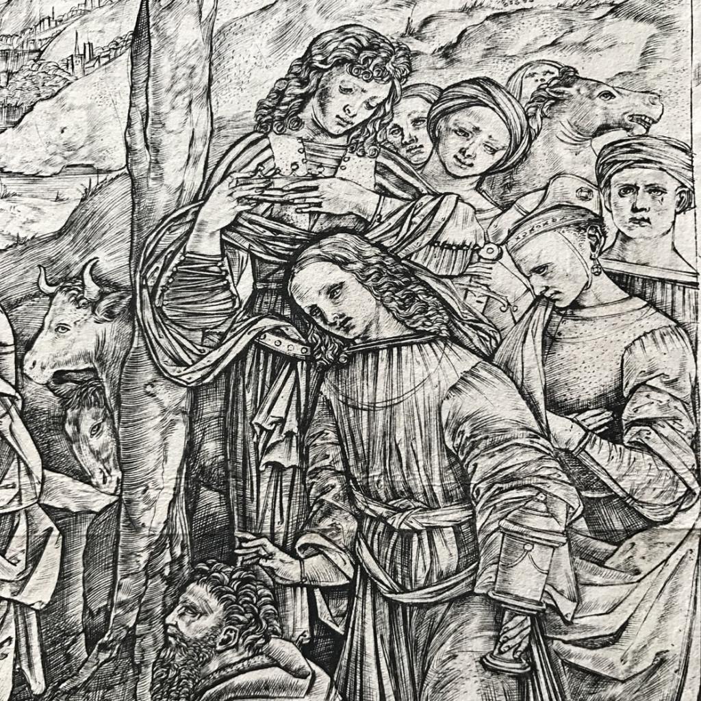 Cristofano ROBETTA (1462 ca. - 1534 post), incisore. Lippi Filippino (1457 ca .- 1504), inventore ADORAZIONE DEI MAGI 1498 circa stampa a bulino 312 mm. x 305 mm. (PARTICOLARE)