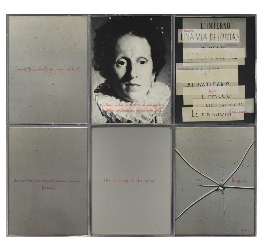Vincenzo Agnetti, Elisabetta d'Inghilterra, 1976, stampa fotografica, pennarello e lastra di alluminio, sei pannelli ciascuno di cm. 40 x 30, Courtesy Osart Gallery, Milano, Ph. Bruno Bani