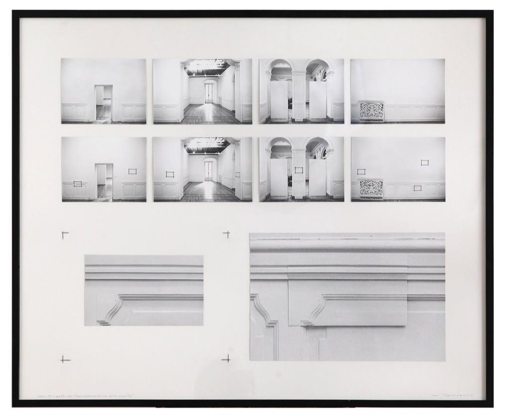 Aldo Tagliaferro, Progetto per la sovrapposizione alla realtà, 1973, fotografie applicate su cartoncino, cm. 80 x 90, Courtesy Osart Gallery, Milano, Ph: Bruno Bani
